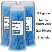 Micro Brush Swab Applicators in Barrel Cases / 3 three barrels x 100 is 300 brushes total / Regular type Disposable Microbrush Microswab/ Eyelash Extensions / Individual Eyelash Extensions / Semi Permanent Eyelash Extensions / Fake Eyelash ..
