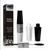 Prolash Eyelash Eye Lash Eyebrow Brow Enhancer Enhancing Lengthening Serum With Collagen Black Mascara Make Up For Full, Long, Thick, Soft, Darker, Natural Eyelashes Lashes 5.1cm 1 Double Sided 6ml x 2