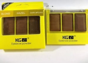 EYEBROW POWDER KIT HAZEL + BLONDE + DARK BROWN BY KRAZY GIRL