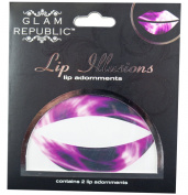 Glam Republic Lip Illusion Lip Appliques Tie Dye Purple Pack of 2