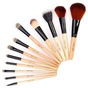 Fräulein3°8 12 Pcs Wooden Makeup Brushes Set w/Case New