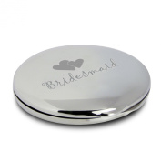 Silver Finish Engraved Bridesmaid Round Compact Mirror with Heart Motif Great Gift Idea for Wedding Thank You Gifts Presents Bridesmaids