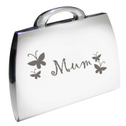 Silver Finish Engraved Mum Handbag Shaped Compact Mirror with Butterfly Motif Great Gift Ideas for Mummy, Birthday, Christmas or Mothers Day