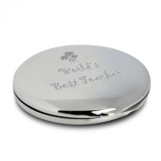Silver Finish WORLDS BEST TEACHER Engraved Round Compact Mirror featuring Flower Motif Great Thank You Gift for Teachers Presents Gifts