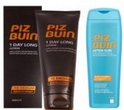 Piz Buin 1 Day Long Duo Sun Lotion Spf 15 LARGE 200ml & Tan Intensifier Aftersun 200Ml