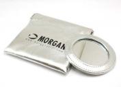 Morgan Metallic Silver Pocket Mirror and Pouch