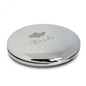 Pretty Silver Finish Engraved Round Compact Mirror for Bride with Hearts Motif Great Gifts Idea for Wedding