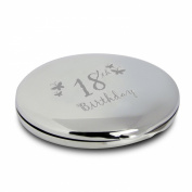 Silver Finish Engraved 18th Birthday Round Compact Mirror with Butterflies Great Gift Idea for Birthday Gifts Friends Presents