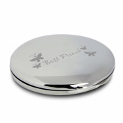 Silver Finish Engraved Best Friend Round Compact Mirror with Butterflies Great Gifts Idea for Birthday Gift Christmas Friends Presents