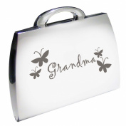 Silver Finish Engraved Grandma Handbag Compact Mirror with Butterflies Great Gifts Idea for Birthday Gift Christmas Presents