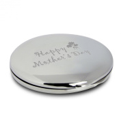 Silver Finish Engraved Happy Mothers Day Round Compact Mirror with Flower Motif Great Gift Idea for Mother Mom Presents
