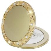 Fantasia Compact Mirror Round Gold 10 x Magnification Swarokvski Elements 8.5 cm