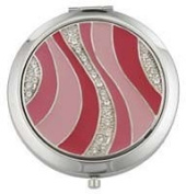 Famego Round Mirror Compact - Pink Shades Wave Design With Inset Diamond Effect