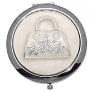 MADAM Silver Clear Crystal Handbag Double Mirror Compact