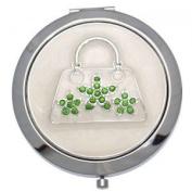 MADAM Silver Green Crystal Handbag Double Mirror Compact