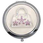 MADAM Silver Pink Crystal Handbag Double Mirror Compact