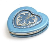 JIMMY CRYSTAL Blue Heart Shaped Compact Mirror With. Crystals and Presentation Pouch and Case