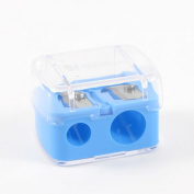 Blue Clear Plastic Shell Double Holes Eyeliner Eyebrow Pencil Sharpener