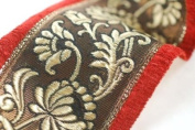 A floral brocade type deep ribbon border with a velour velvet selvedge edge in a contrast colour. A traditional Indian sari border but usable for anything decoration; dressmaking, interiors or crafts. 9 cms deep. 2 superb colour combos. Sold by metre o ..