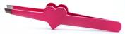 Heart Shaped Face Eyebrow Tweezers Beautiful Pink Colour Slant Tweezers