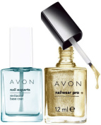 Avon Nail Experts Revitacool Base Coat and Nailwear Pro+ Nail Enamel in GOLDEN VISION