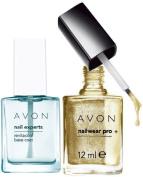 Avon Nail Experts Revitacool Base Coat and Nailwear Pro+ Nail Enamel in GOLDEN VISION