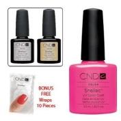 Cnd Top Coat + Base Coat + Hot Pop Pink 7.3Ml + Bonus Cnd Shellac Remover Wraps
