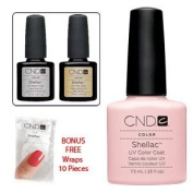 Cnd Top Coat + Base Coat + Clearly Pink 7.3Ml + Bonus Cnd Shellac Remover Wraps