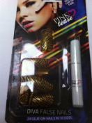 Pink Tease Diva Glue On - Gold Stripe