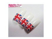 100 Union Jack Flag Designer Nail Tips Plus 2g Nail Glue