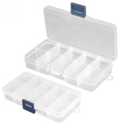 TRIXES 2 x Acrylic Clear False Nail Tips Empty Storage Box Case Unit Container