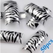 50pc Glitter Zebra French False Fake Artificial Acrylic Nail Art Tips 10 Sizes In Box