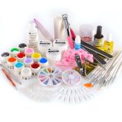 Pro Nail Art UV Gel Colour Gel Set Glitter Brush Nail Tips Full Kit