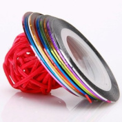 Nail Art Striping Tape Line Decoration pack of 10 rolls Mix Colours