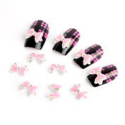 Yesurprise Pink Silver Bow Tie 10 pieces Silver 3D Alloy Nail Art Slices Glitters DIY Decorations