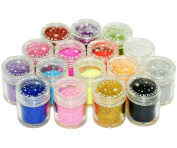 Micro Trader 16 Colour Glitter Powder Dust Nail Art Tips Decoration
