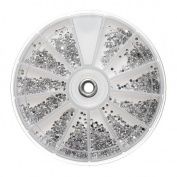 2400 X Silver Clear Nail Art Rhinestone Round Diamante 1.5mm Glitter Gem Wheel