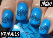 Comic Book Pow Nail Decals by YRNails