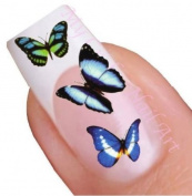 Blue Butterfly Water Nail Art Decal / Tattoo / Sticker