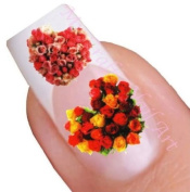 Red Heart Flower Water Nail Art Decal / Tattoo / Sticker