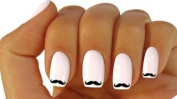 x20 NAIL ART WATER TRANSFER STICKER DECALS CUTE BLACK MOUSTACHE #381