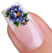 Blue Flower Water Nail Art Decal / Tattoo / Sticker
