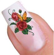 Butterfly and Flower Nail Art Decal / Tattoo / Sticker