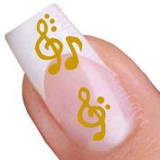 Gold Musical Nail Stickers Art / Decals