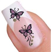 Purple Gold Glitter Butterflies Nail Stickers Art / Decals