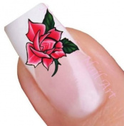 Red Flower Water Nail Art Decal / Tattoo / Sticker