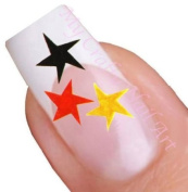 Red, Yellow and Black Star Nail Art Decal / Tattoo / Sticker