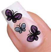 Silver and Purple Butterflies Glitter Flower Nail Art Decal / Tattoo / Sticker