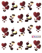 Deco Nail art water transfer nail decals the hydroplaning nail stickers heart love black chocolate