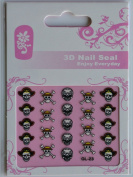 GGSELL GL Stereoscopic 3D nail art nail decals nail stickers 3 different black and white design skulls